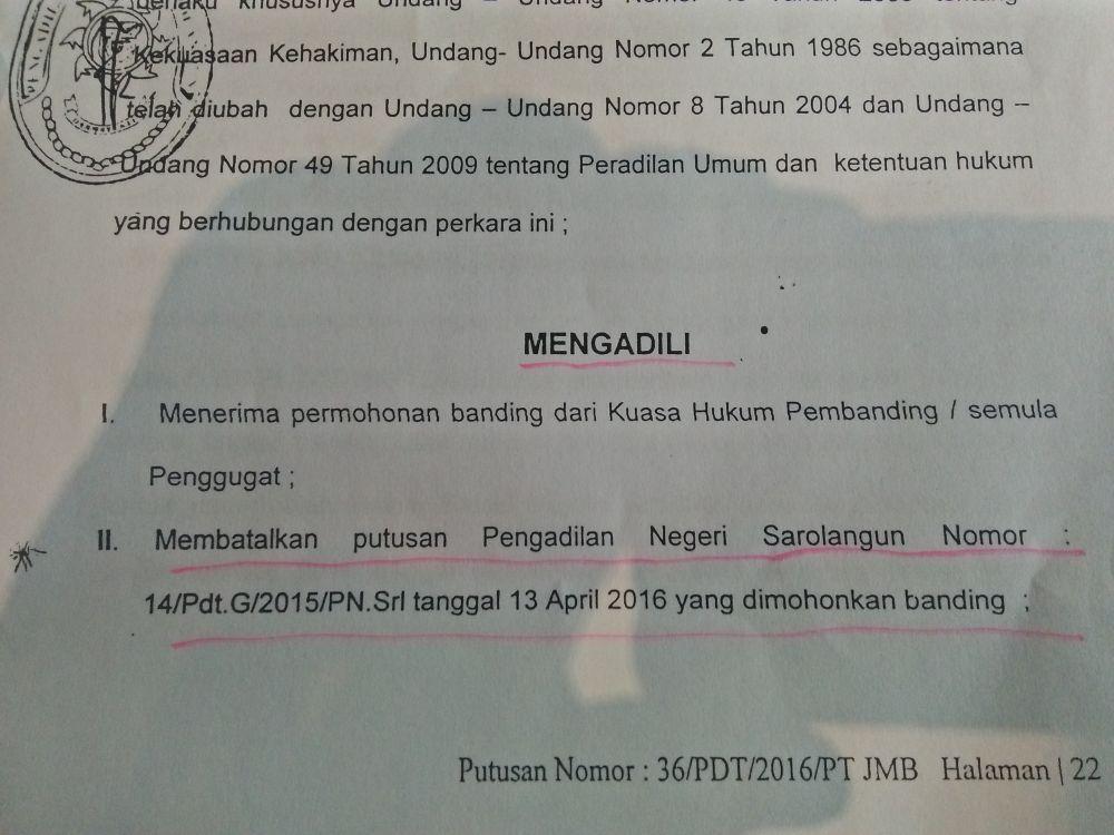 Berkas putusan pengadilan tinggi