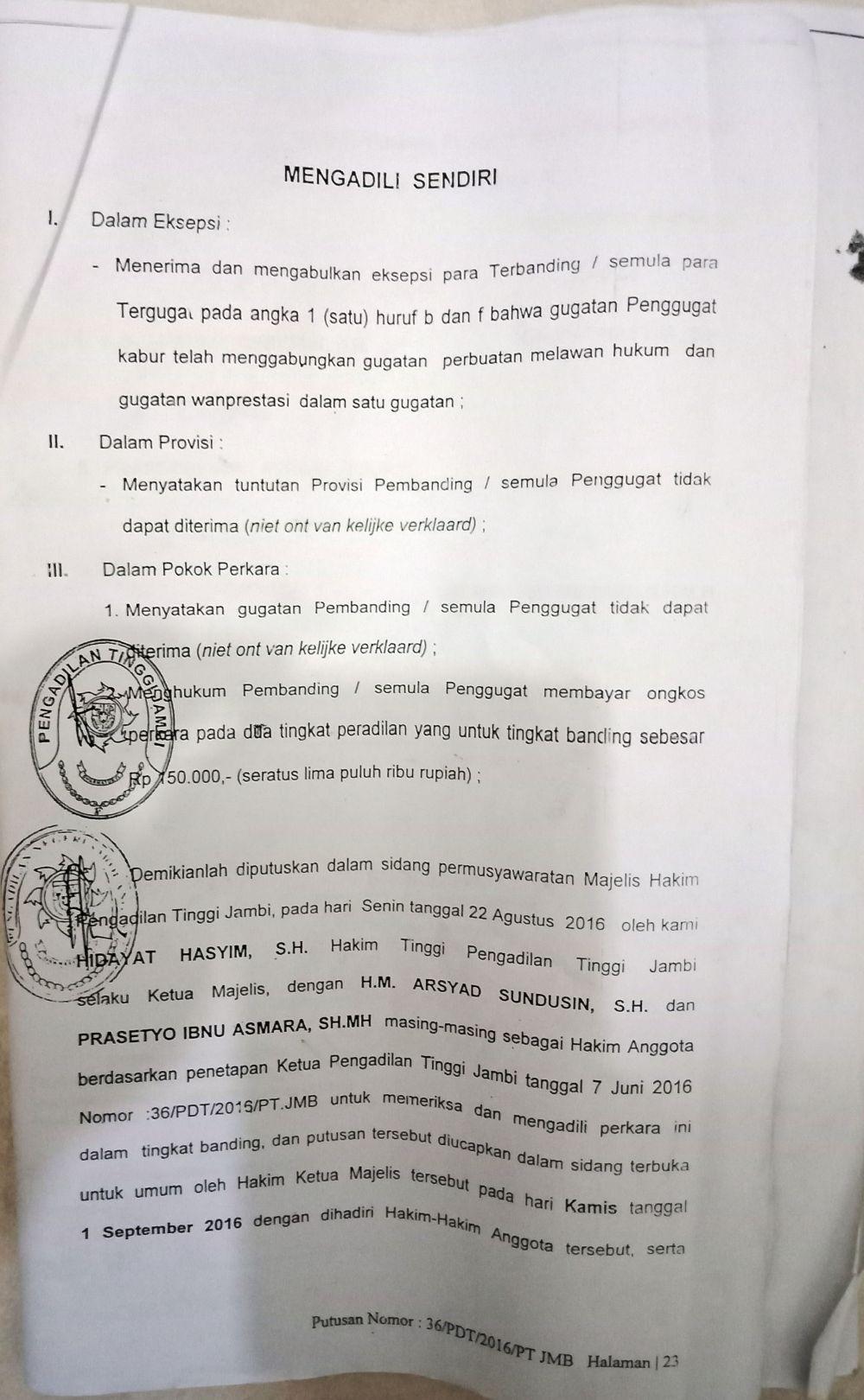 Lembaran putusan Pengadilan Jambi antara PT Sinar Agung Persada Mas (SAPM) dan dr Hernayawati