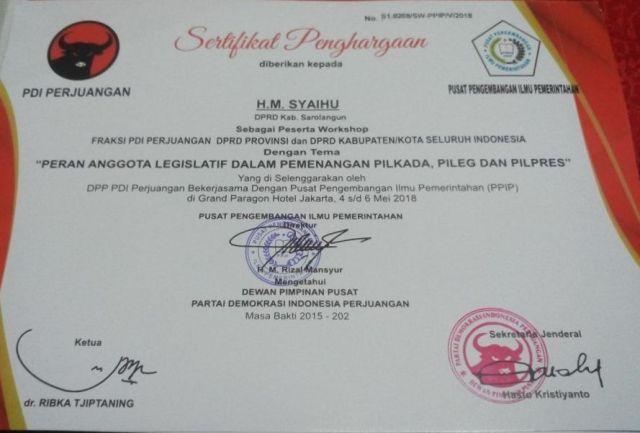 Sertifikat penghargaan dari Partai Demokrasi Indonesia (PDI) Perjuangan untuk H M Syaihu