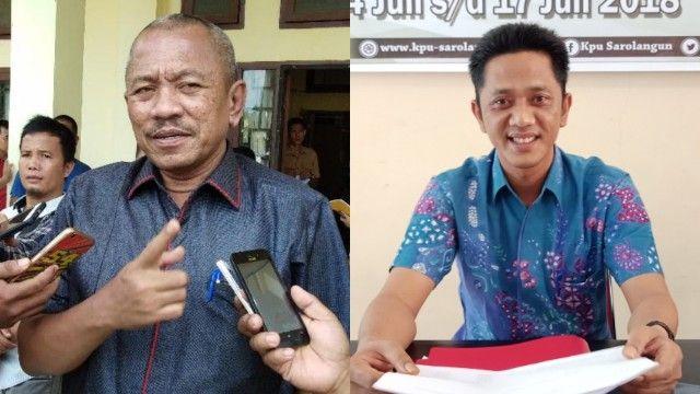 Terlihat pihak pelapor H Muhammad Syaihu dan Ketua KPU Sarolangun, Muhammad Fakhri