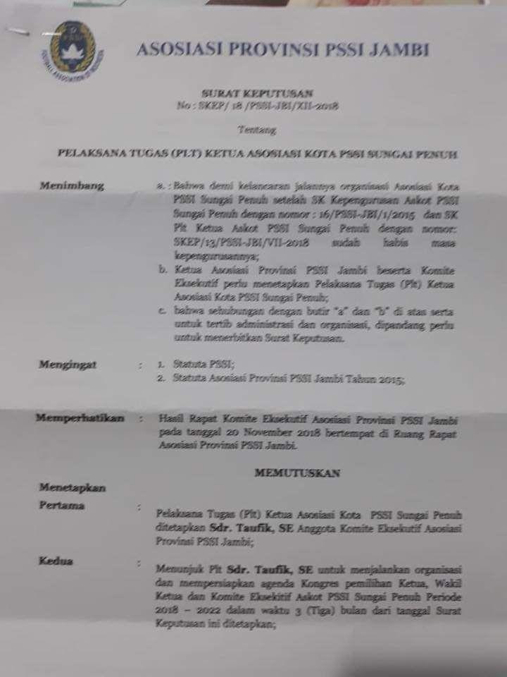 Surat  keputusan mengenai Plt ketua PSSI Sungai Penuh