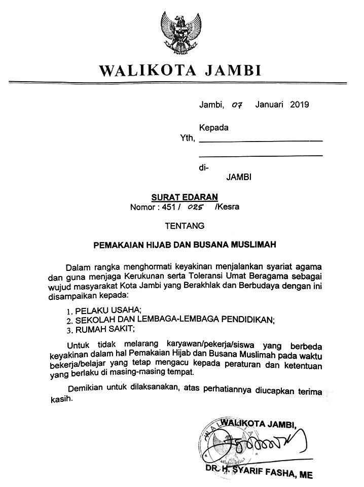 Surat Edaran Walikota Jambi Untuk Pelaku Usaha