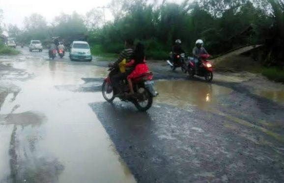 Salah Satu Ruas Jalan Nasional yang Rusak di Tanjabbarat