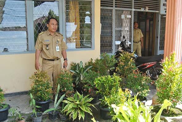 Tanaman banyak menghiasi pekarangan kantor Kelurahan Payo Selincah.