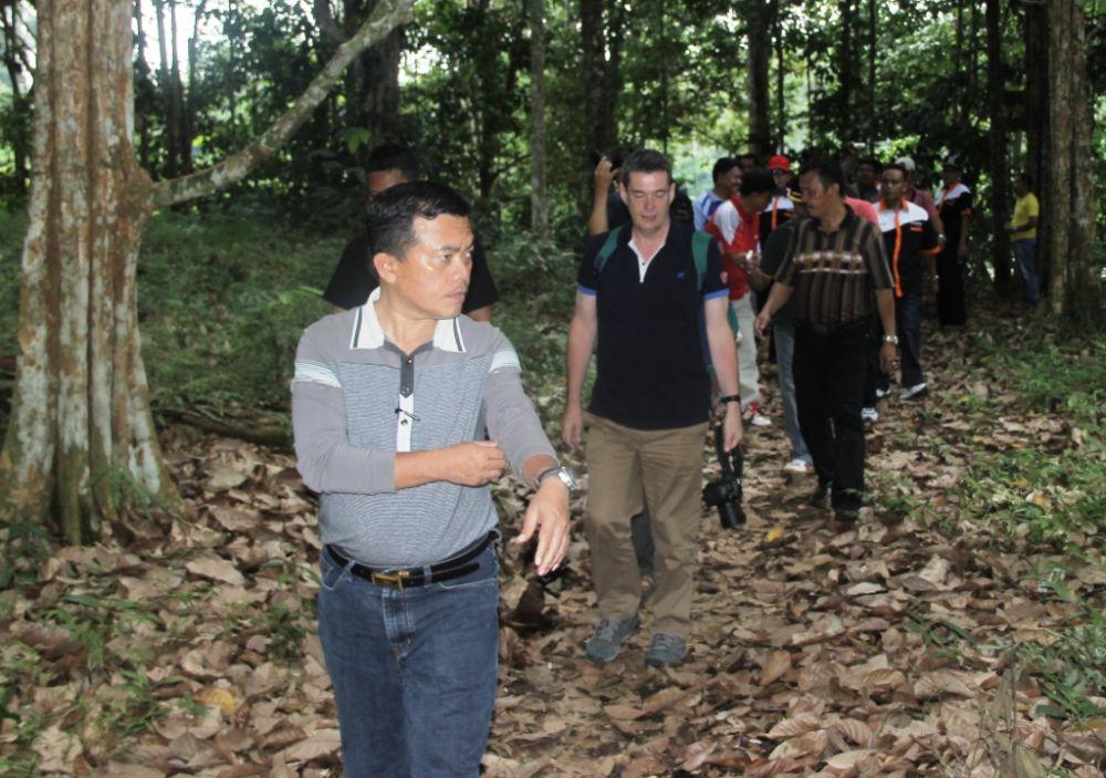 Bupati Merangin H Al Haris saat memantau hutan adat Guguk bersama tim dari UNESCO.