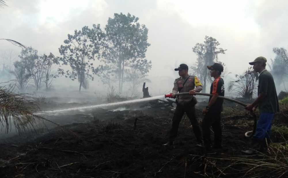 Petugas memadamkan kebakaran hutan.