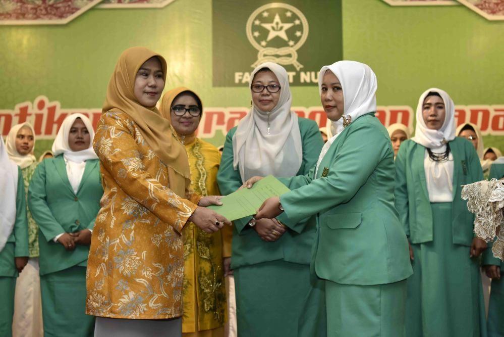 Pelantikan, Upgrading, dan Rapat Kerja Pimpinan Wilayah Fatayat NU Provinsi Jambi Masa Khidmat 2019 – 2024, di Auditorium Rumah Dinas Gubernur Jambi, Minggu (15/12) sore.