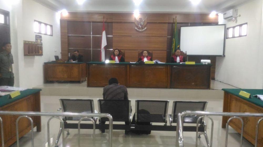 Suasana sidang dugaan  ijazah palsu anggota DPRD Tebo.