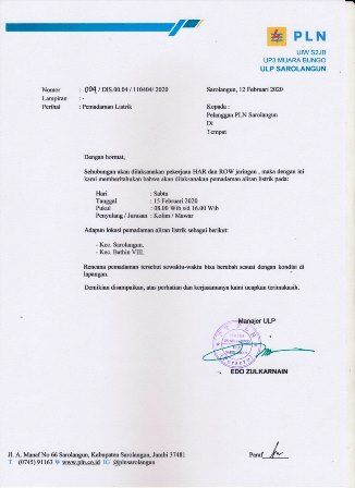 Surat pemadaman aliran listrik untuk Kecamatan Sarolangun dan Bathin VIII