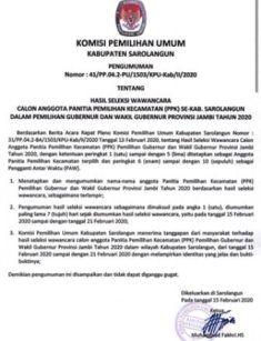 Berita acara pleno KPU Kabupaten Sarolangun tentang hasil seleksi wawancara calon anggota PPK