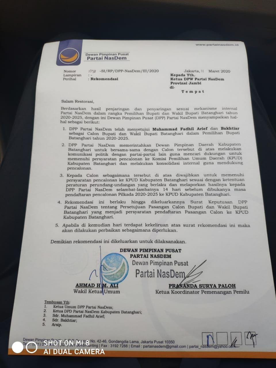 Surat dukungan dari Nasdem.