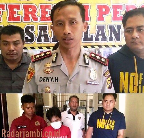 Keterangan pers Kapolres Sarolangun, AKBP Deny Heryanto didampingi Kasat Reskrim IPTU Bagus Faria SIK dan Kanit Pidum Bripka Romi