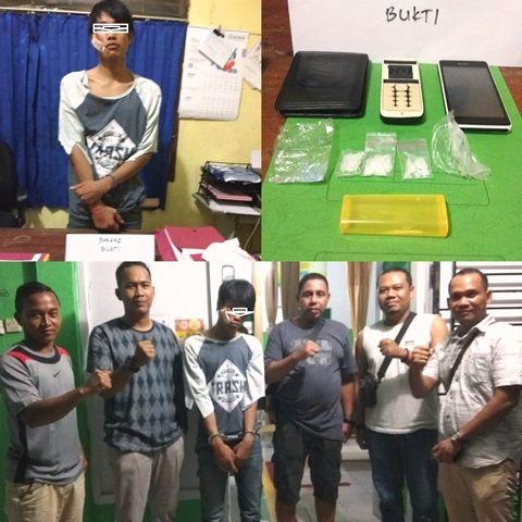 Tim Opsnal Resnarkoba Polres Sarolangun dan Unit Reskrim Polsekta bersama tersangka narkotika usai penangkapan