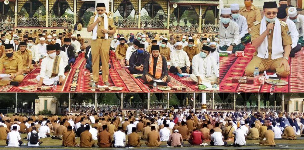doa istighosah, zikir dan yasin menggema di lapangan Gunung Kembang Pemkab Sarolangun
