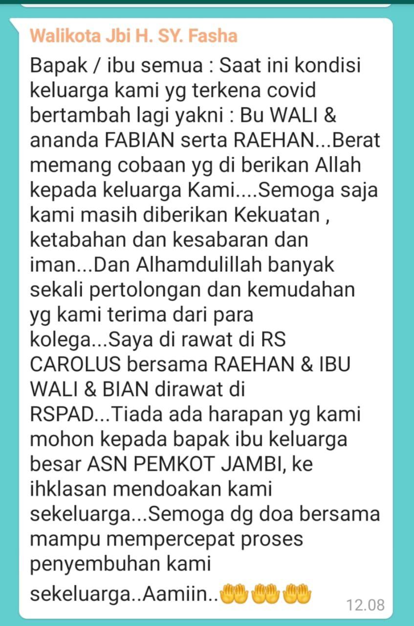 Pesan dari walikota  Jambi Fasha