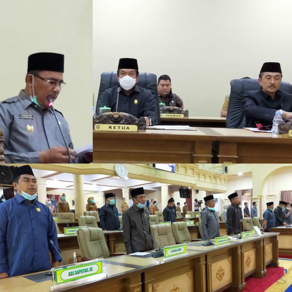 Jalannya paripurna penyampaian R-KUA PPAS APBD Kabupaten Sarolangun tahun 2021, Selasa (27/10)