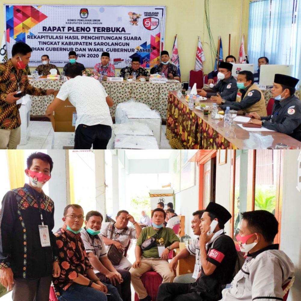 Berlangsungnya rapat pleno terbuka rekapitulasi hasil penghitungan suara Pilgub dan Pilwagub Jambi berlangsung di ruang pola KPU Sarolangun, Selasa (15/12)