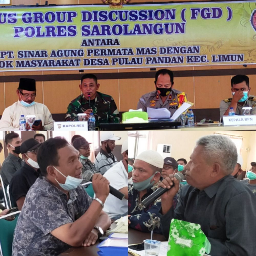 FGD Polres Sarolangun terhadap sengketa antara kelompok masyarakat Pulau Pandan dengan PT SAPM
