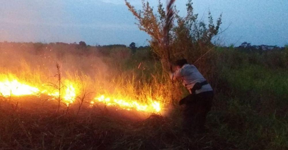 Kapolres Muarojambi turut memadamkan api.