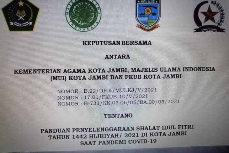 surat Keputusan Bersama Panduan Pelaksanaan Shalat Idul Fitri 1442 H saat pandemi COVID-19 di Kota Jambi
