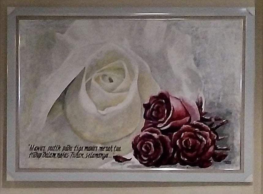 Judul   : Merah & Putih kurang  : 150 x 100 cm, Media : Akrelik diatas Kanvas Karya  : Alhendra Dy (Bangko)