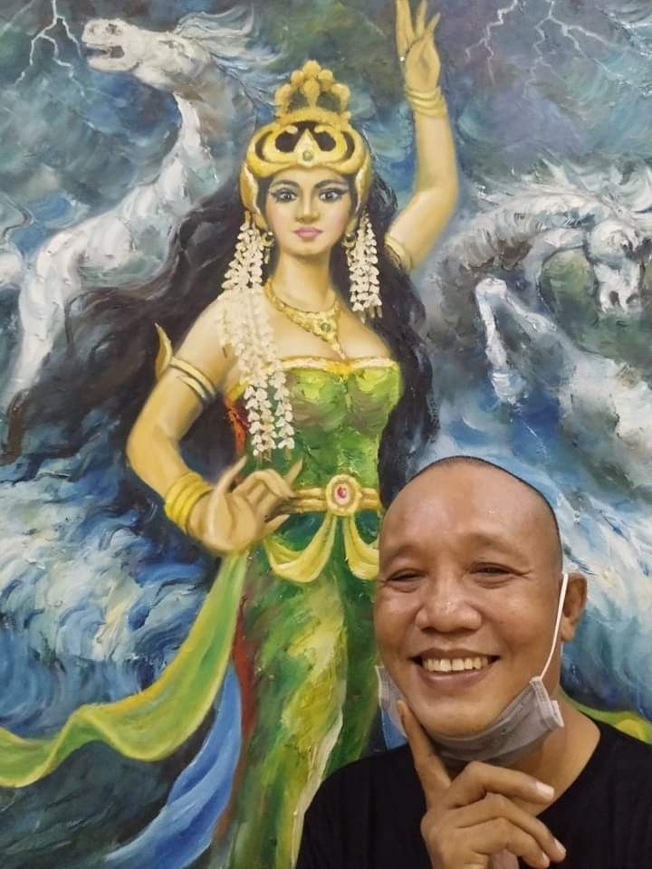 Lukisan Ki Samudera Biru saat pameran di Gedung DPRD propinsi Jambi