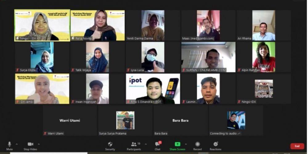 Berlangsungnya kegiatan workshop BEI Perwakilan Jambi bersama puluhan wartawan melalui daring, Kamis (16/092021)